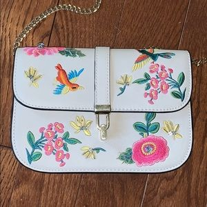 Topshop Crossbody Embroidered Chain Bag